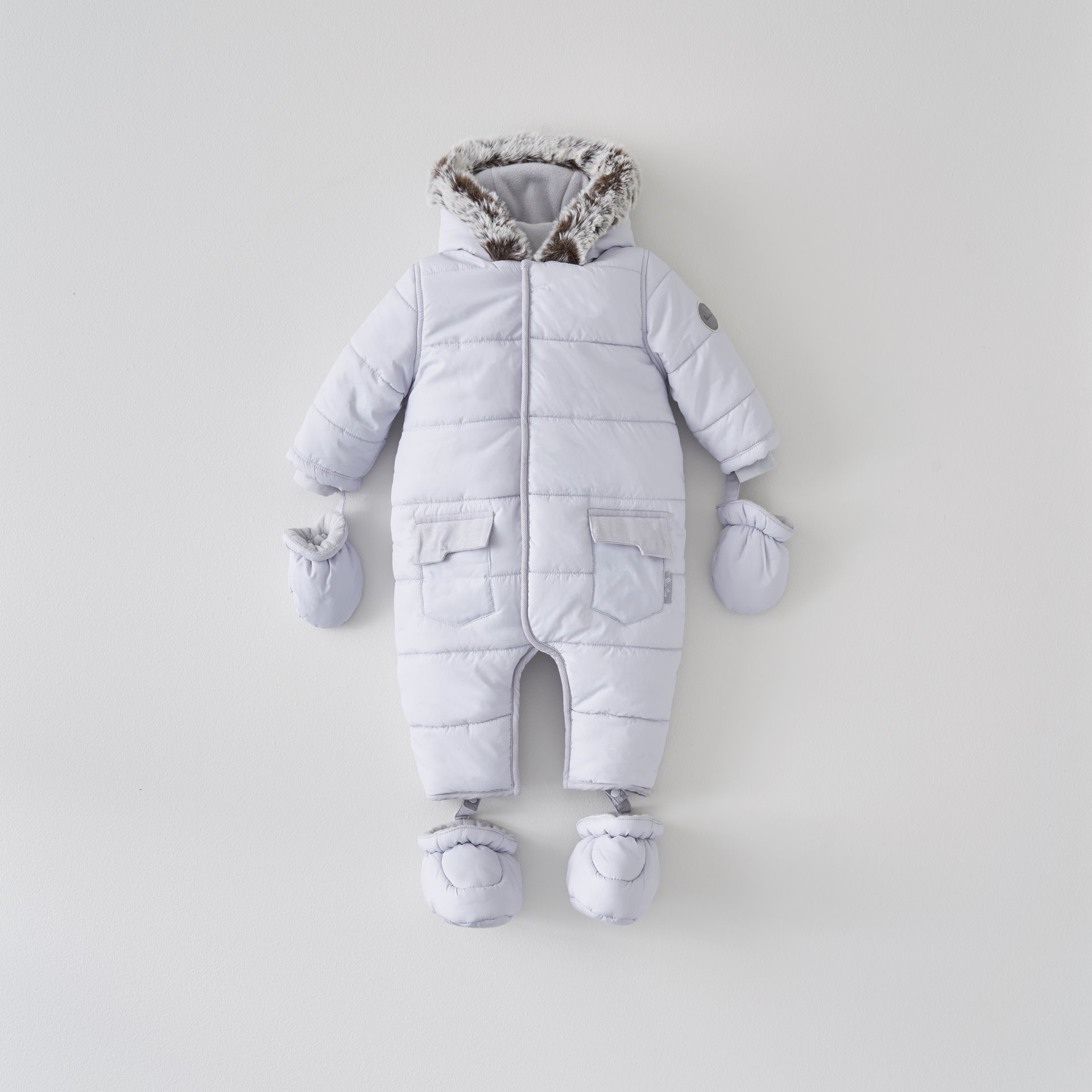Grey Quilted Pramsuit 6-9 Months