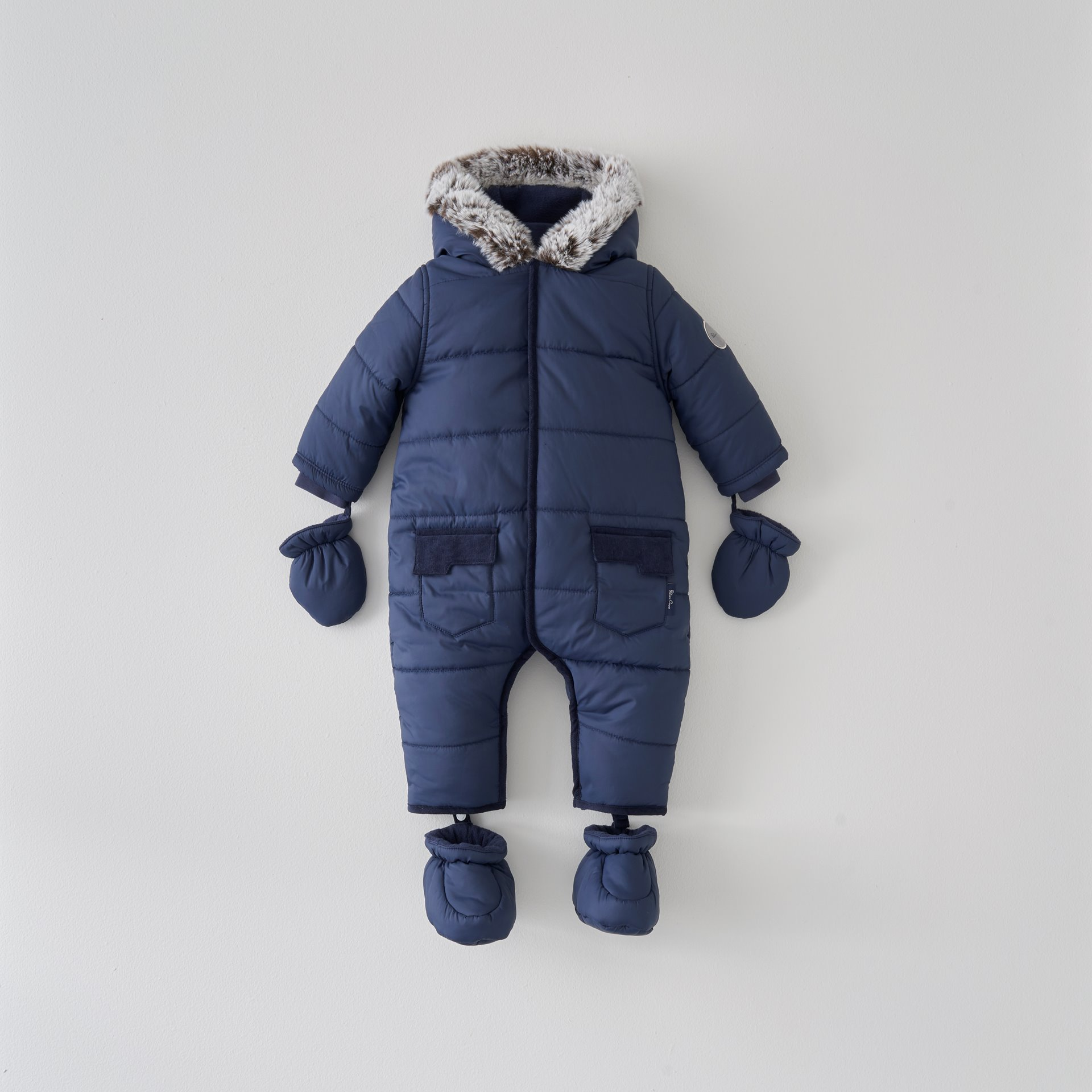 Navy Quilted Pramsuit 9-12 Months