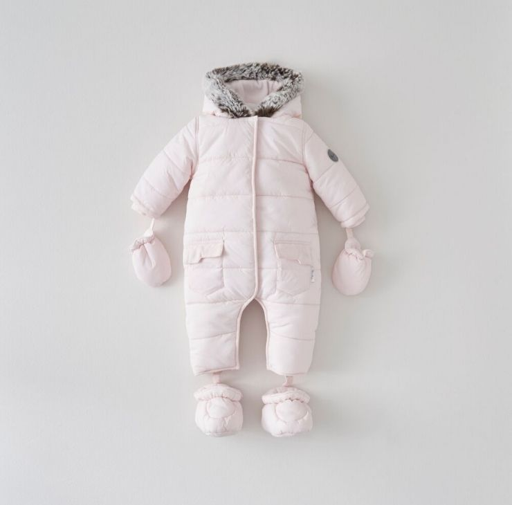 Pink Quilted Pramsuit 12-18 Months