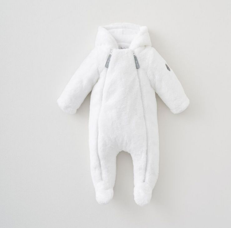 White Faux Fur Pramsuit 3-6 Months